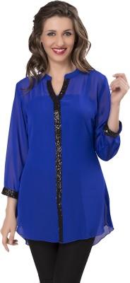 IshinDesignerStudio Casual Full Sleeve Solid Women's Blue Top