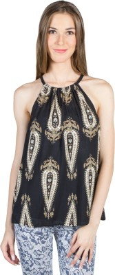 My Addiction Casual Sleeveless Printed Women's Beige, Black Top