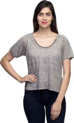LY2 Casual Short Sleeve Solid Women,s Grey Top