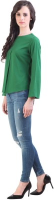 Vvine Party, Casual Full Sleeve Self Design Women's Green Top