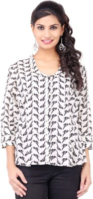 Pear Blossom Casual 3/4 Sleeve Printed Women's White Top