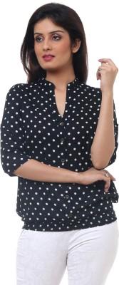Lynda Casual 3/4 Sleeve Polka Print Women's Black, White Top