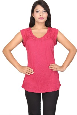 TUC Casual Sleeveless Solid Women's Maroon Top