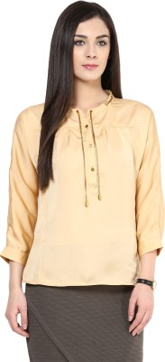 Rare Party 3/4th Sleeve Solid Women's Beige Top at flipkart
