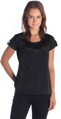 Miss Rich Casual Short Sleeve Solid Women's Black Top