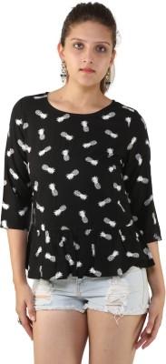 Unicolr Casual 3/4 Sleeve Printed Women's Black Top