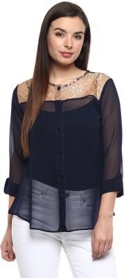 Pinwheel Casual Roll-up Sleeve Solid Women's Dark Blue Top