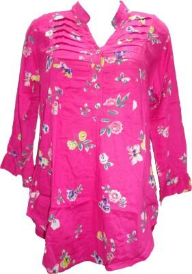 Deesha Casual 3/4 Sleeve Floral Print Women's Pink Top