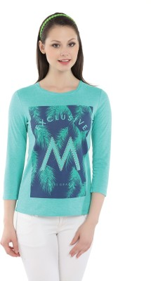 Miss Grace Casual 3/4 Sleeve Printed Women's Green Top