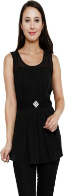 Rumara Casual Sleeveless Self Design Women's Black Top