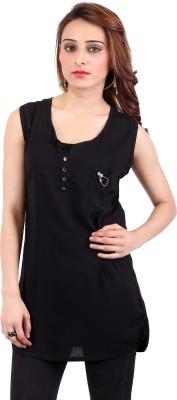 Nagpal Radio Corp Casual Sleeveless Solid Women's Black Top