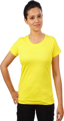 Indophile - Natural Fashion Casual Short Sleeve Solid Women's Yellow Top