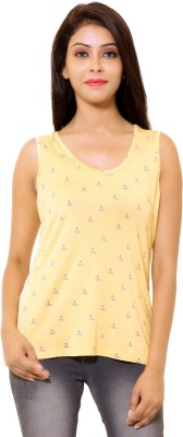 LEELA Casual Sleeveless Floral Print Women's Yellow Top