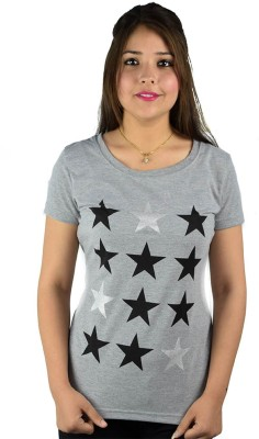 kaily Casual Short Sleeve Printed Women's Grey Top