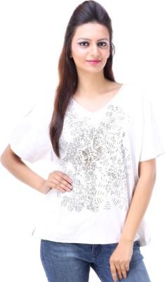 Avon Apparels Casual Short Sleeve Printed Women's White Top