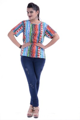 Megha Overseas Casual Cape Sleeve Printed Women's Multicolor Top