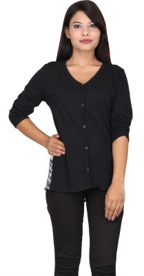 TUC Casual 3/4 Sleeve Solid Women's Black, White Top