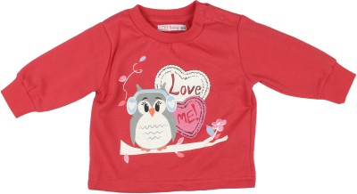 Parv Collections Casual Full Sleeve Printed Baby Girl's Red Top