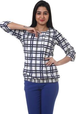 Lynda Casual 3/4 Sleeve Checkered Women's White, Blue Top
