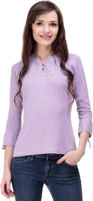 Ebry Casual 3/4 Sleeve Striped Women's Purple Top
