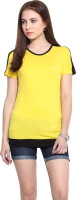 Mystree Casual Short Sleeve Solid Women's Yellow Top