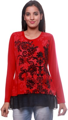 La Divyyu Party Full Sleeve Printed Women's Red Top