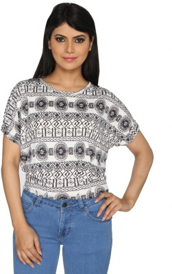 Nuts Clothing Party Short Sleeve Graphic Print Women,s Black, White Top