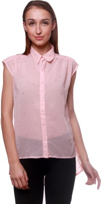 La Divyyu Party Sleeveless Solid Women's Pink Top