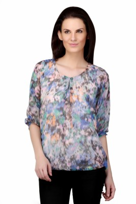 Sierra Casual 3/4 Sleeve Graphic Print Women's Multicolor Top