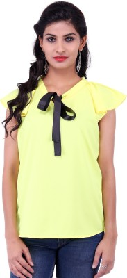 Fbbic Casual Short Sleeve Solid Women's Yellow Top
