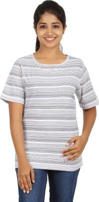 FICTIF Casual Short Sleeve Striped Women's Black, White Top