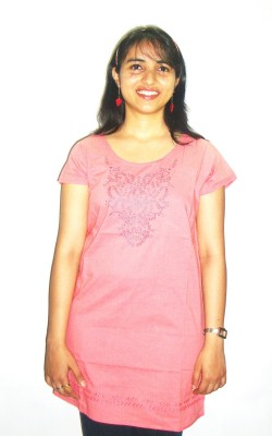 Revez Casual Short Sleeve Embroidered Women's Pink Top
