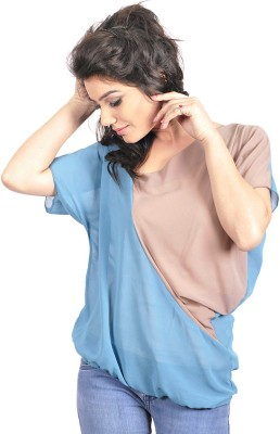 My Hollywood Shop Casual Short Sleeve Solid Women's Blue Top