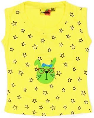 Tomato Casual Sleeveless Printed Girl's Yellow Top