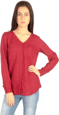 MIST ISLAND Casual Full Sleeve Solid Women's Maroon Top