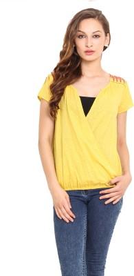 Instacrush Casual Short Sleeve Solid Women,s Yellow Top