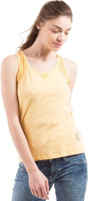 Flying Machine Casual Sleeveless Solid Women's Yellow Top