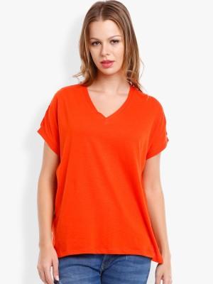 Tokyo Talkies Casual Full Sleeve Solid Women's Orange Top