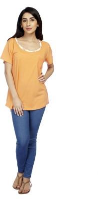 True Fashion Casual Short Sleeve Solid Women's Orange Top