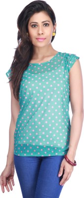 Stop To Start by Shoppers Stop Casual Short Sleeve Polka Print Women,s Blue Top