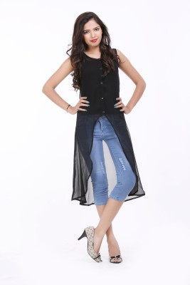 LOUISE BERRY Casual Sleeveless Solid Women's Black Top