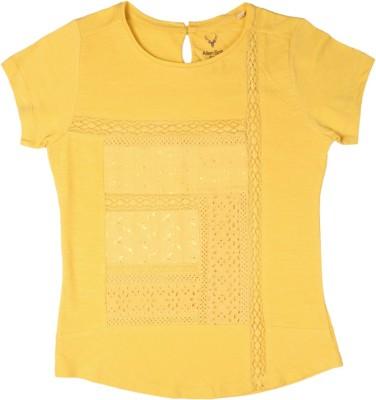 Allen Solly Casual Short Sleeve Solid Girl's Yellow Top