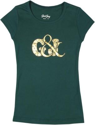 Gini & Jony Casual Short Sleeve Solid Girl's Green Top