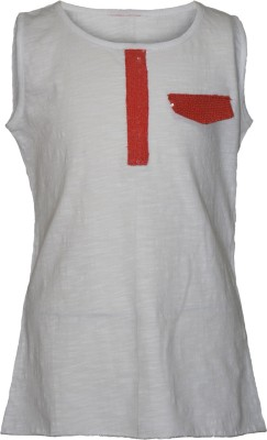 Cool Quotient Casual Sleeveless Solid Girl,s White Top
