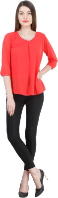 Zupe Party 3/4 Sleeve Solid Women's Red Top