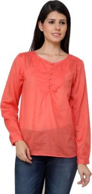 Vaak Casual Full Sleeve Solid Women's Orange Top