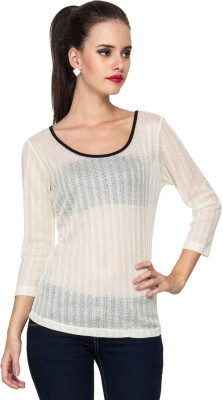Kaxiaa Casual 3/4 Sleeve Solid Women's White Top