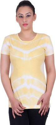 KAILY Casual Short Sleeve Printed Women's Yellow Top