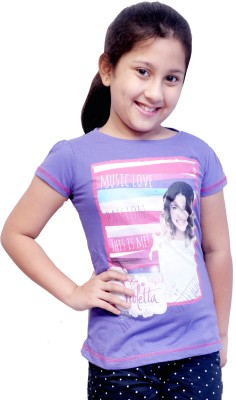MC Casual Short Sleeve Printed Girl's Purple Top