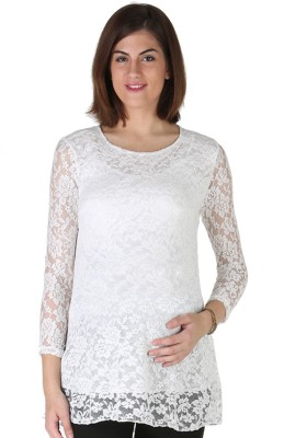 Morph Maternity Casual 3/4 Sleeve Floral Print Women's White Top